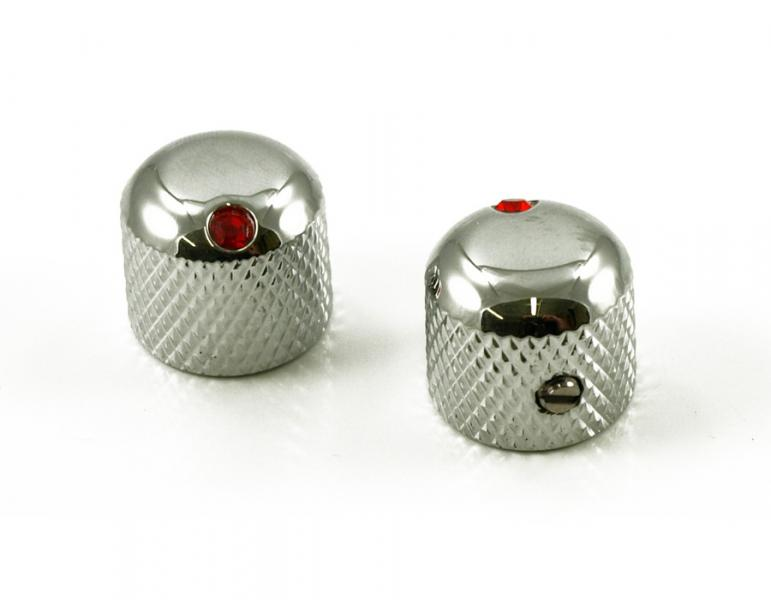 DOME KNOB CHROME / RED JEWEL X 2