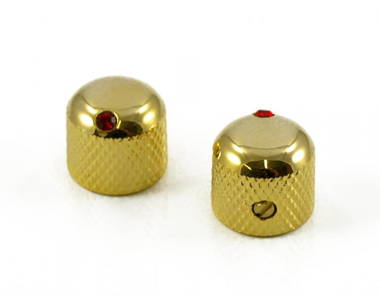 DOME KNOB 24K GOLD / RED JEWEL X 2