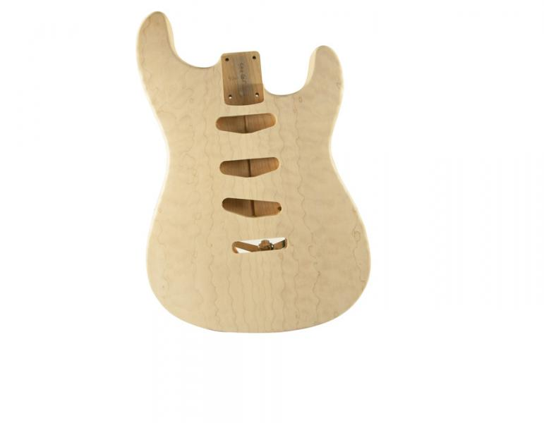STRAT BODY QUILT/ALDER UNFINISHED- REAR CONTROLS ONLY