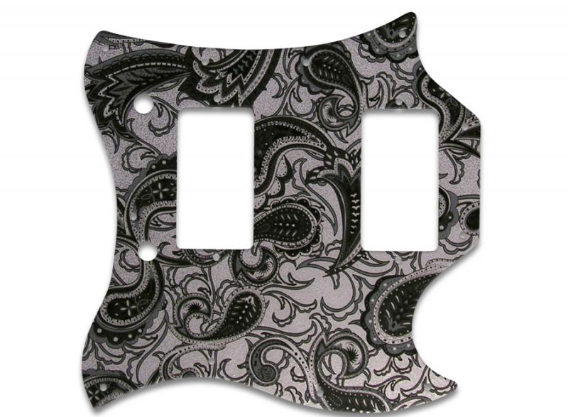 GIBSON SG FULL FACE PICKGUARD BLACK SILVER PAISLEY